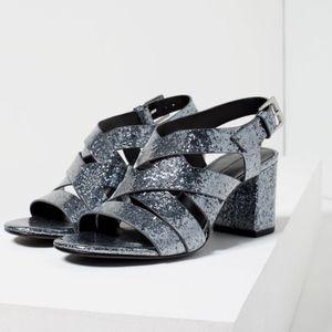 Zara  Grey Sparkly Strappy Sandals Glitter Block